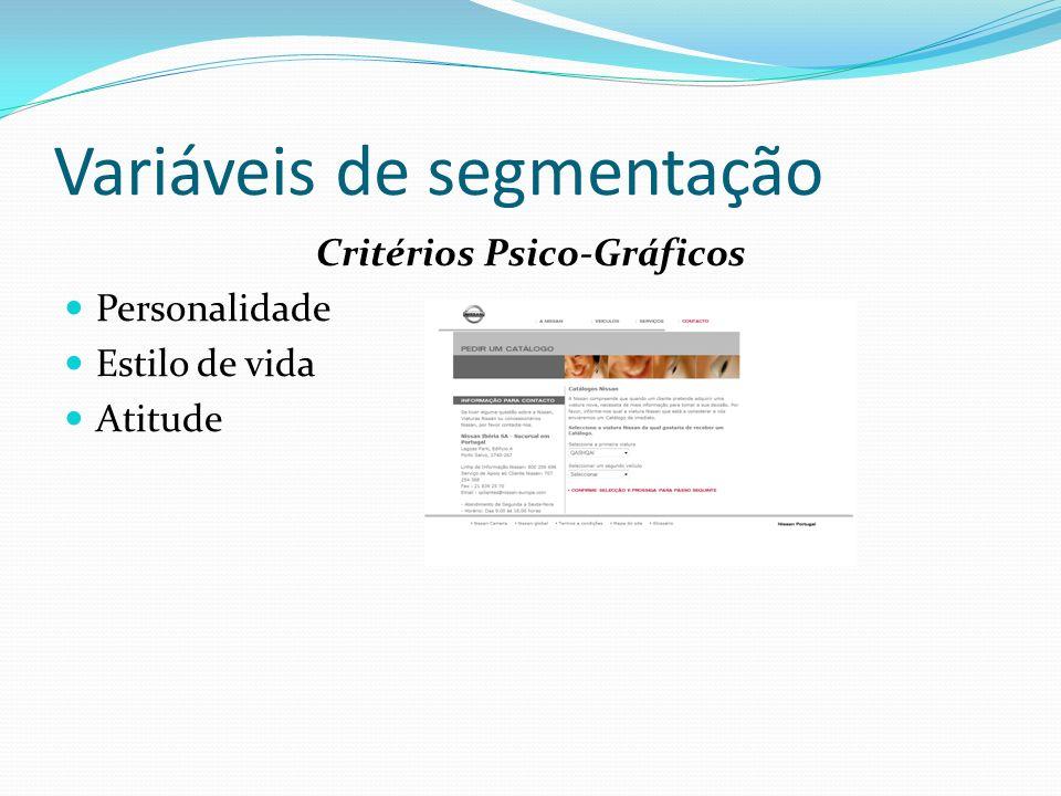Variáveis de segmentação Critérios Comportamentais Procura de Benefício Fidelidade de Marca Funcionalidade final Tempo de entrega de produto Rentabilidade da compra