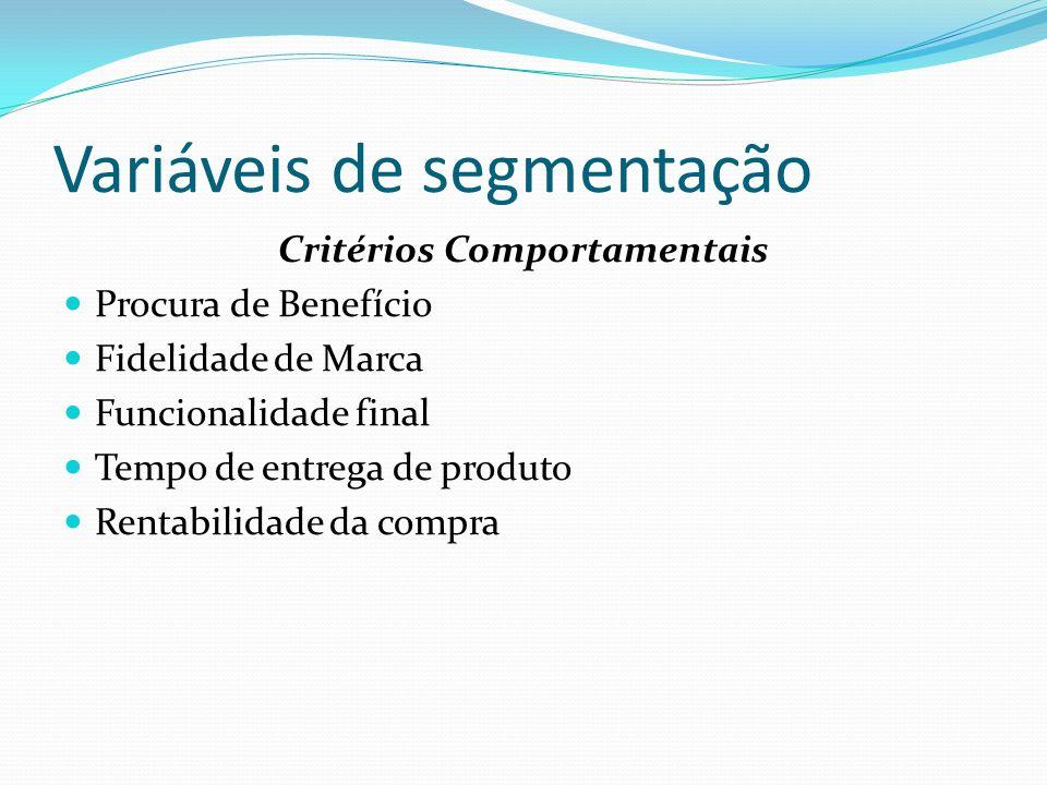Variáveis de segmentação Critérios Comportamentais Procura de Benefício Fidelidade de Marca Funcionalidade final Tempo de entrega de produto Rentabili
