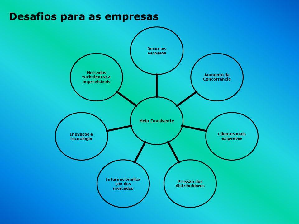 Meio Envolvente Recursos escassos Aumento da Concorrência Clientes mais exigentes Pressão dos distribuidores Internacionalização dos mercados Inovação