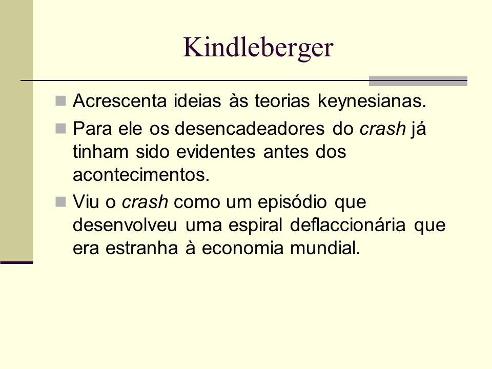 Kindleberger Acrescenta ideias às teorias keynesianas. Para ele os desencadeadores do crash já tinham sido evidentes antes dos acontecimentos. Viu o c
