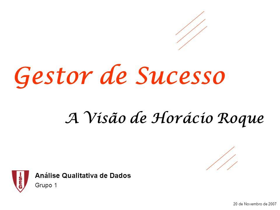 Gestor de Sucesso 20 de Novembro de 2007 A Visão de Horácio Roque Análise Qualitativa de Dados Grupo 1
