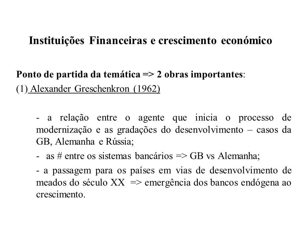 Instituições Financeiras e crescimento económico Ponto de partida da temática => 2 obras importantes: (1) Alexander Greschenkron (1962) - a relação en