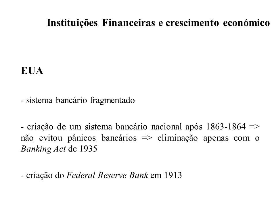 Instituições Financeiras e crescimento económico EUA - sistema bancário fragmentado - criação de um sistema bancário nacional após 1863-1864 => não ev