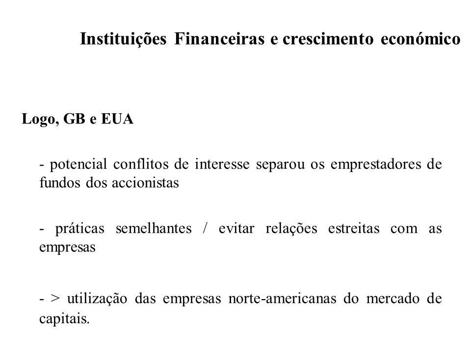 Instituições Financeiras e crescimento económico Logo, GB e EUA - potencial conflitos de interesse separou os emprestadores de fundos dos accionistas
