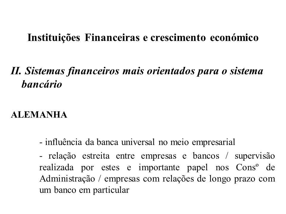 Instituições Financeiras e crescimento económico II. Sistemas financeiros mais orientados para o sistema bancário ALEMANHA - influência da banca unive
