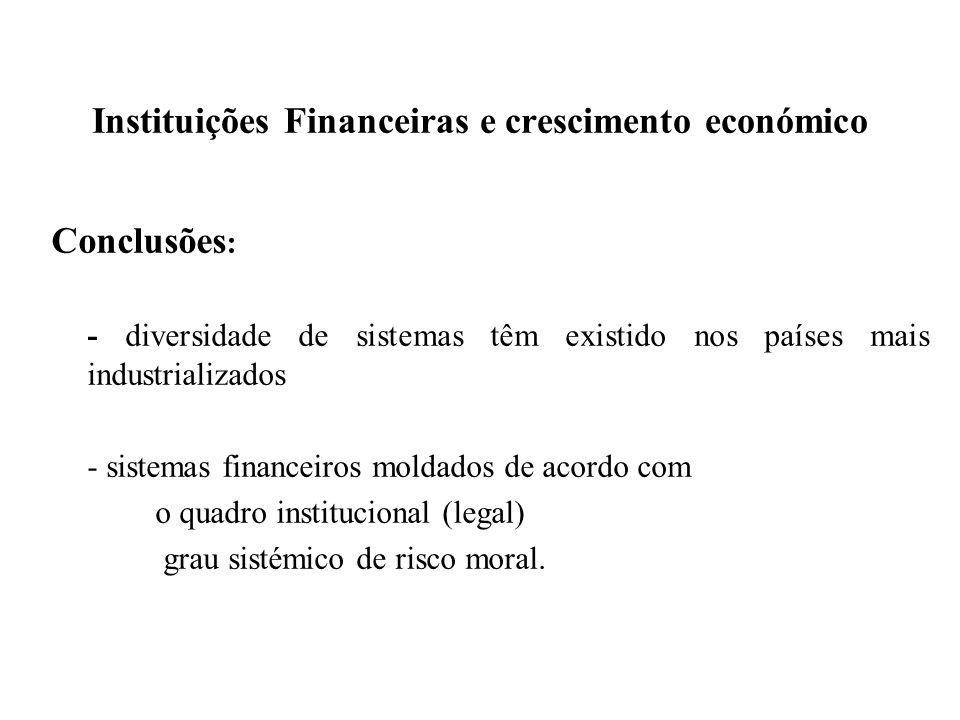 Instituições Financeiras e crescimento económico Conclusões : - diversidade de sistemas têm existido nos países mais industrializados - sistemas finan