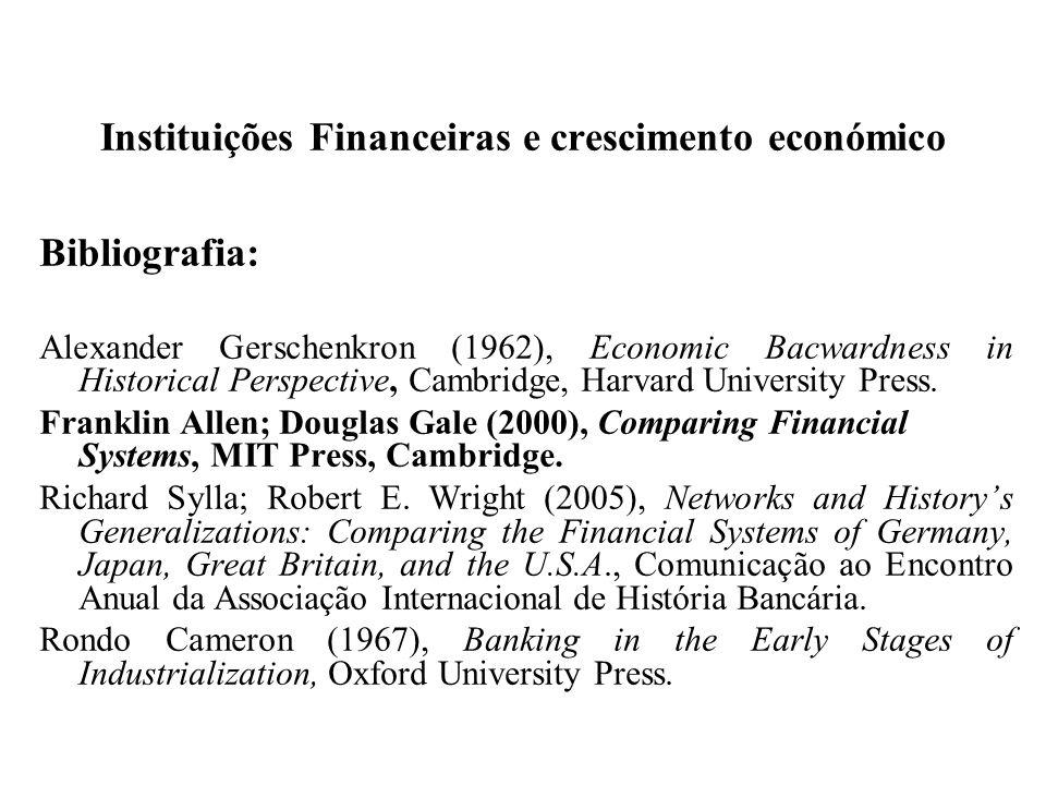 Instituições Financeiras e crescimento económico Bibliografia: Alexander Gerschenkron (1962), Economic Bacwardness in Historical Perspective, Cambridg