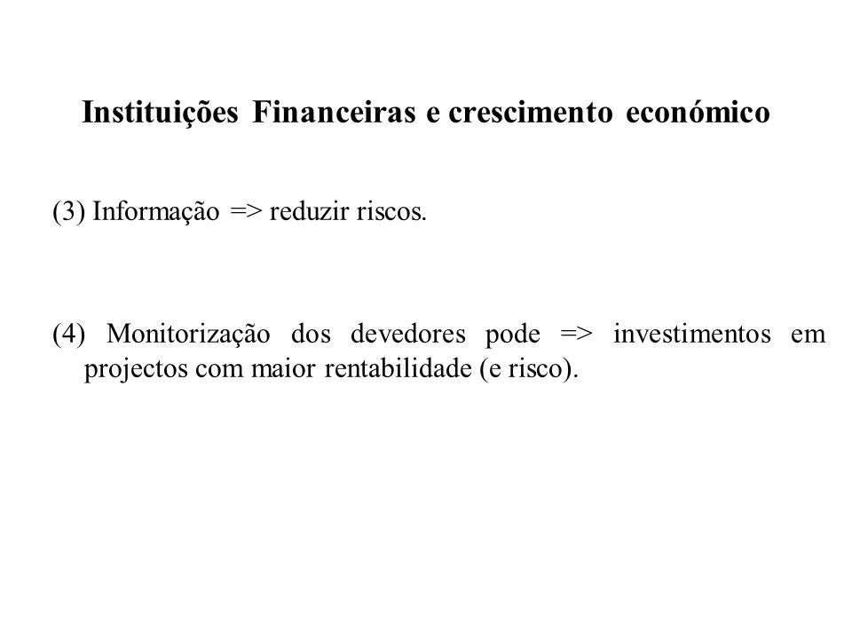 Instituições Financeiras e crescimento económico (3) Informação => reduzir riscos. (4) Monitorização dos devedores pode => investimentos em projectos