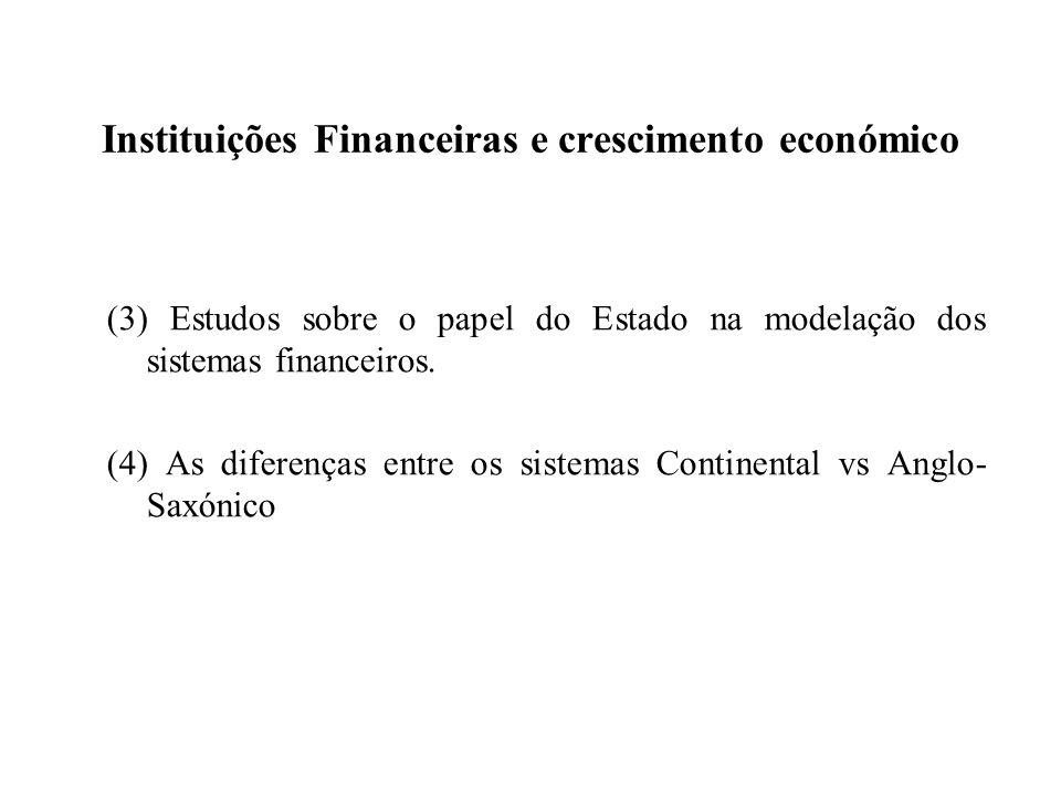 Instituições Financeiras e crescimento económico (3) Estudos sobre o papel do Estado na modelação dos sistemas financeiros. (4) As diferenças entre os