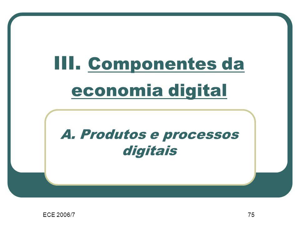 ECE 2006/775 III. Componentes da economia digital A. Produtos e processos digitais