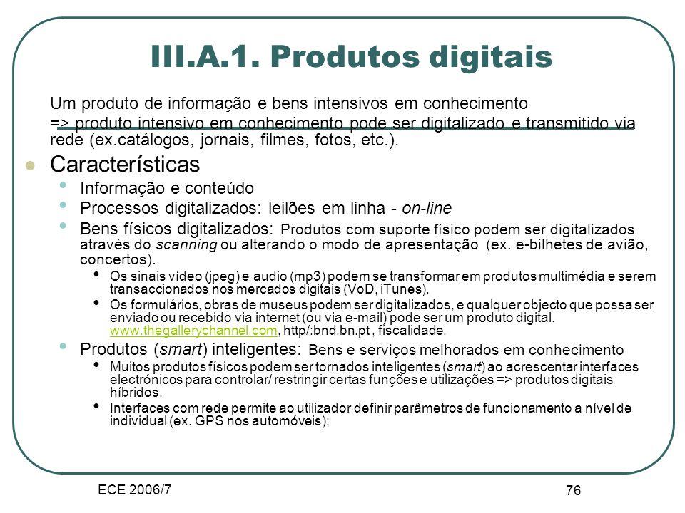 ECE 2006/7 116 III.E.2.Cadeia de produção Configuração tradicional, linear.
