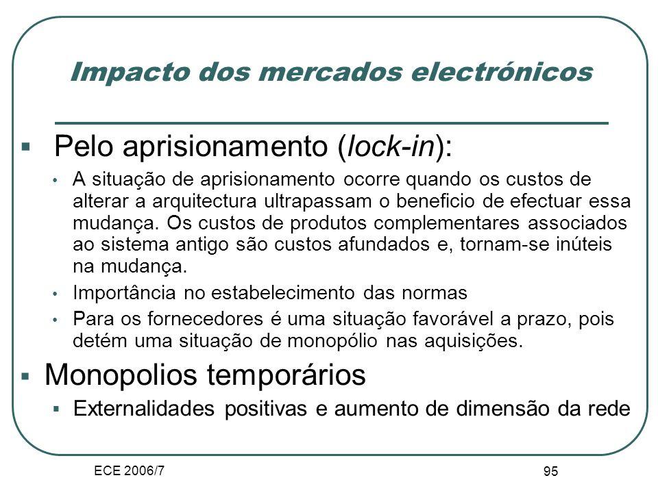ECE 2006/7 94 Impacto dos mercados electrónicos Aumento do valor da rede Adesão de novos utilizadores Crescimento dos utilizadores da rede Pela retroa