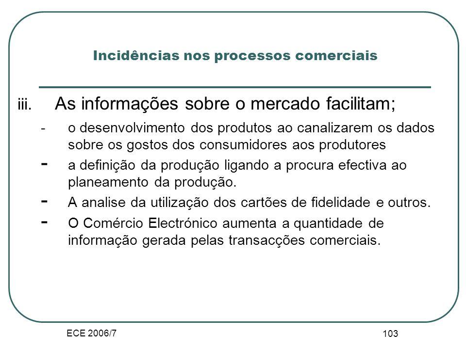 ECE 2006/7 102 Incidências nos processos comerciais i.Na concepção do produto - Aceleração na concepção - Adequação da produção entre a fase da montag