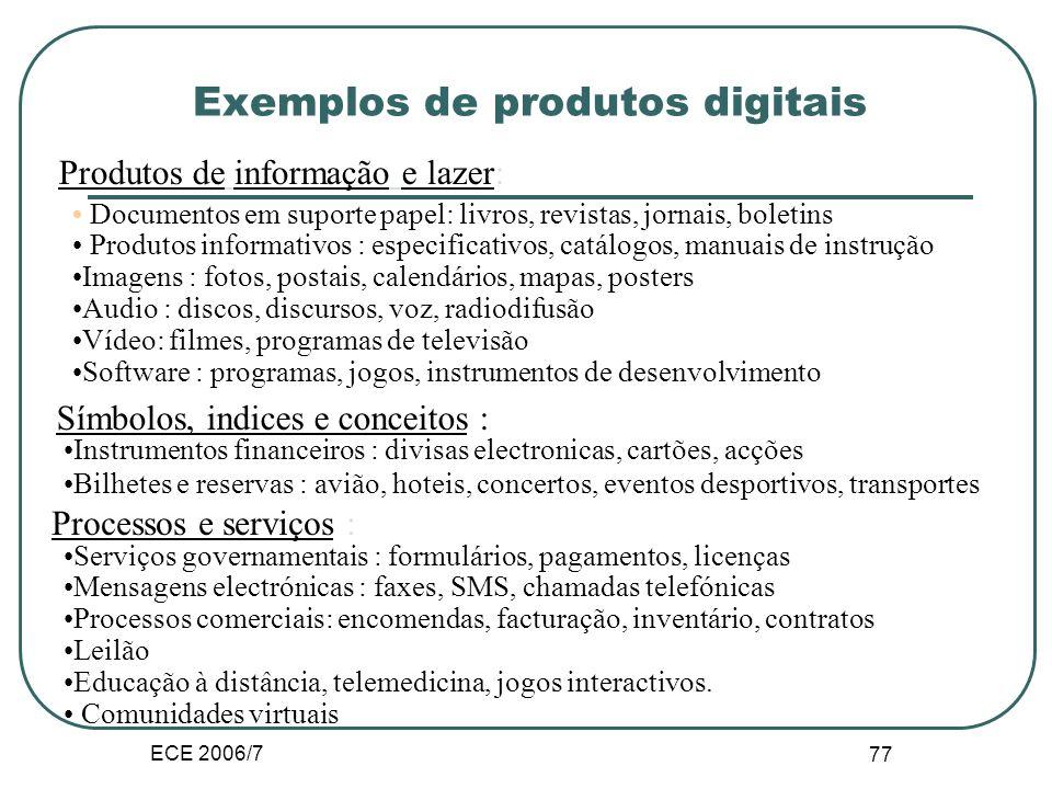 ECE 2006/7 76 III.A.1. Produtos digitais Um produto de informação e bens intensivos em conhecimento => produto intensivo em conhecimento pode ser digi