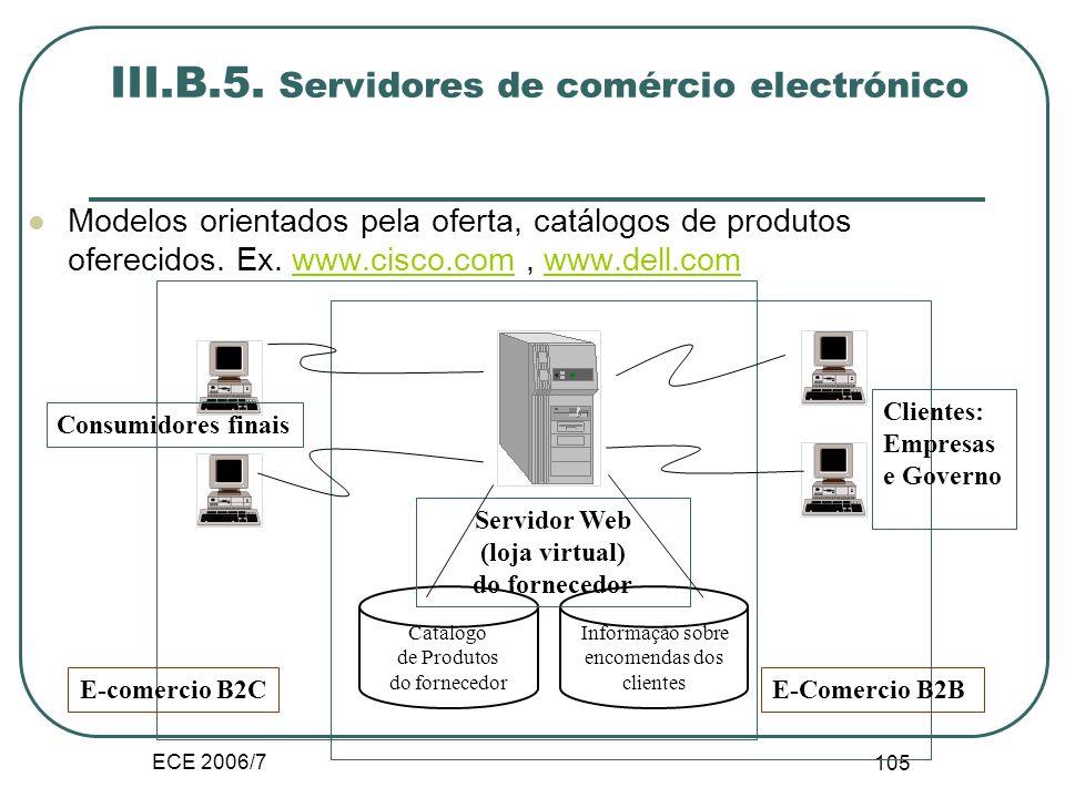 ECE 2006/7 104 Incidências nos processos comerciais iv.Dinâmica do mercado B2B Relação cliente fornecedor. Os modelos orientados pela procura benefici