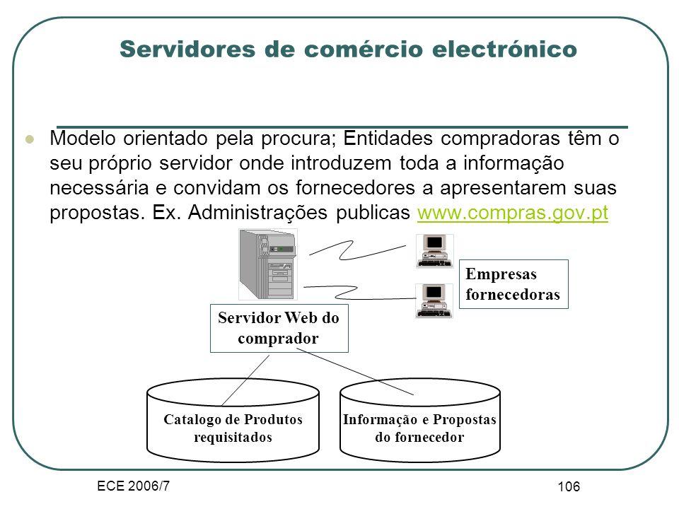 ECE 2006/7 105 III.B.5. Servidores de comércio electrónico Modelos orientados pela oferta, catálogos de produtos oferecidos. Ex. www.cisco.com, www.de