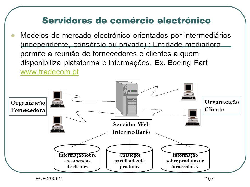 ECE 2006/7 106 Servidores de comércio electrónico Modelo orientado pela procura; Entidades compradoras têm o seu próprio servidor onde introduzem toda