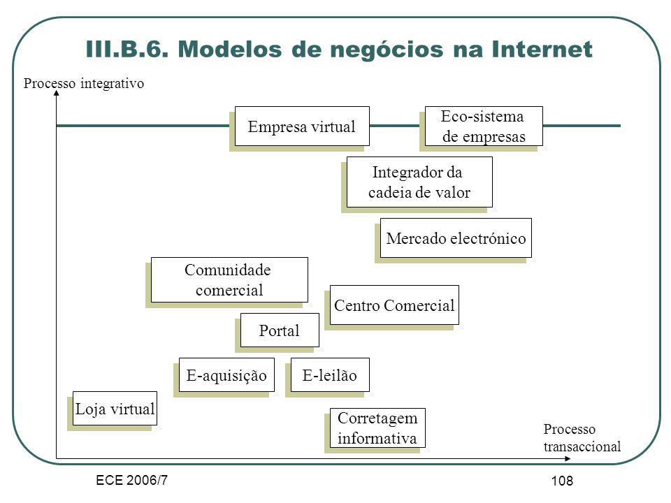 ECE 2006/7 107 Servidores de comércio electrónico Modelos de mercado electrónico orientados por intermediários (independente, consórcio ou privado) ;