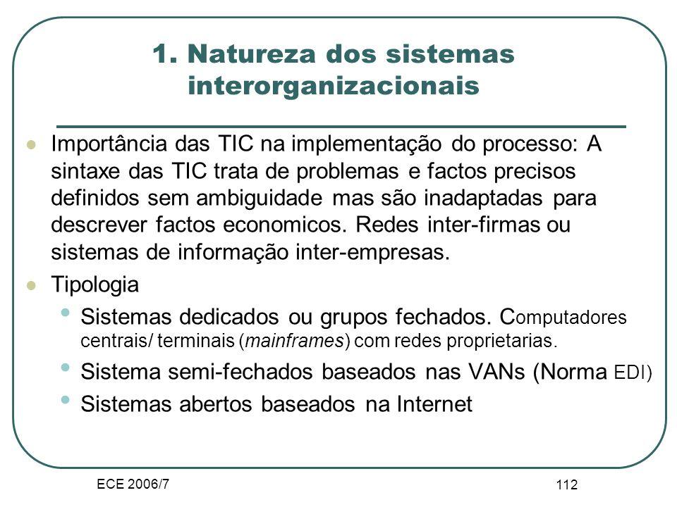 ECE 2006/7 111 III.E. Sistemas interorganizacionais – IOS- Os sistemas IOS melhoram a coordenação e o controle dos fluxos entre as organizações. Os IO