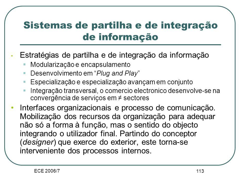 ECE 2006/7 112 1. Natureza dos sistemas interorganizacionais Importância das TIC na implementação do processo: A sintaxe das TIC trata de problemas e