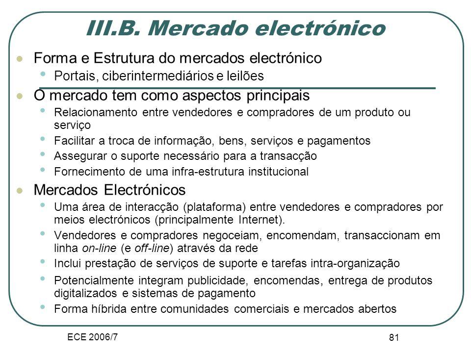 ECE 2006/7 101 Formas de comercio B2B Vendedores Compradores EDI Internet Plataformas de venda em linha (CRM) Plataformas de compras centralizadas (e-procurement, SRM) VV V V VV VV C C C C C C C C Mercados electrónicos (marketspace)