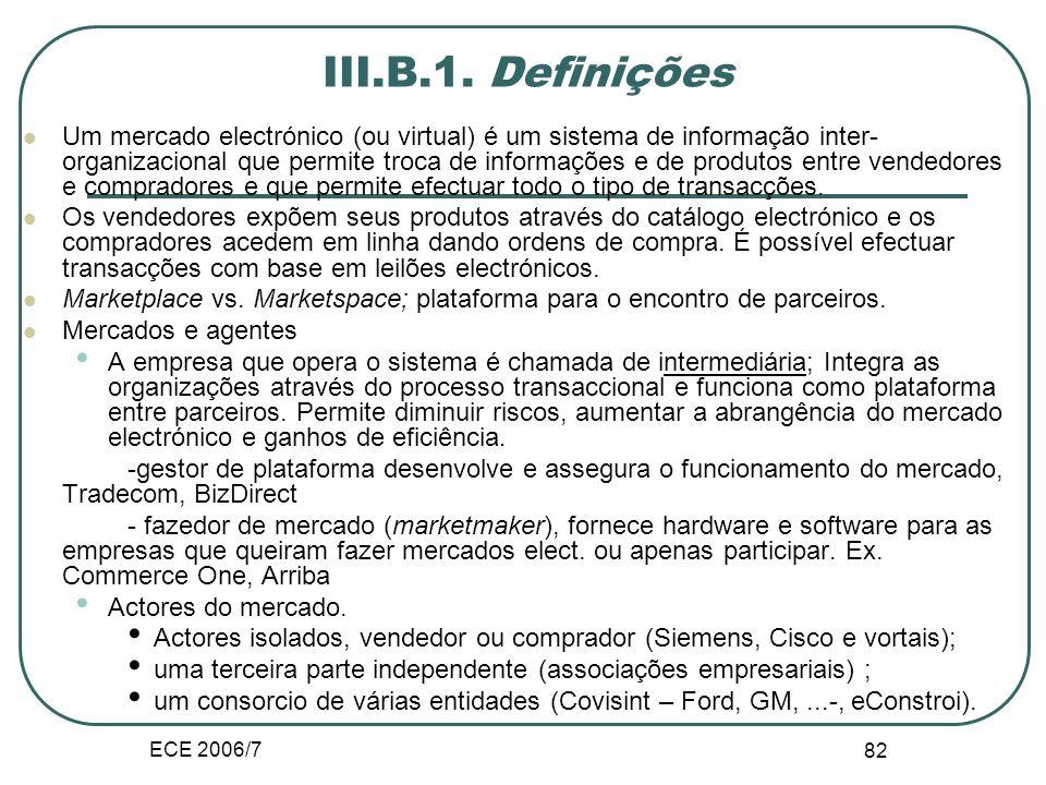 ECE 2006/7 81 III.B. Mercado electrónico Forma e Estrutura do mercados electrónico Portais, ciberintermediários e leilões O mercado tem como aspectos