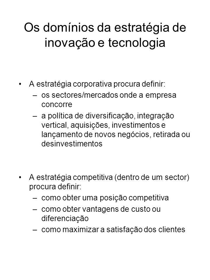A estratégia corporativa procura definir: –os sectores/mercados onde a empresa concorre –a política de diversificação, integração vertical, aquisições