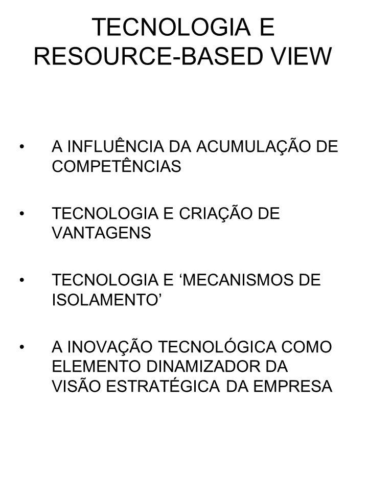 TECNOLOGIA E RESOURCE-BASED VIEW A INFLUÊNCIA DA ACUMULAÇÃO DE COMPETÊNCIAS TECNOLOGIA E CRIAÇÃO DE VANTAGENS TECNOLOGIA E MECANISMOS DE ISOLAMENTO A