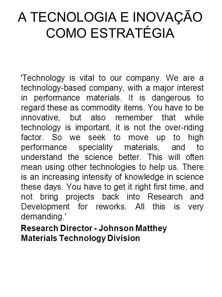A TECNOLOGIA E INOVAÇÃO COMO ESTRATÉGIA Technology is vital to our company.