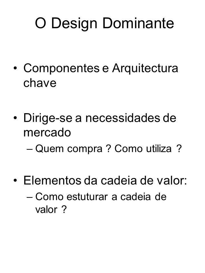 O Design Dominante Componentes e Arquitectura chave Dirige-se a necessidades de mercado –Quem compra ? Como utiliza ? Elementos da cadeia de valor: –C
