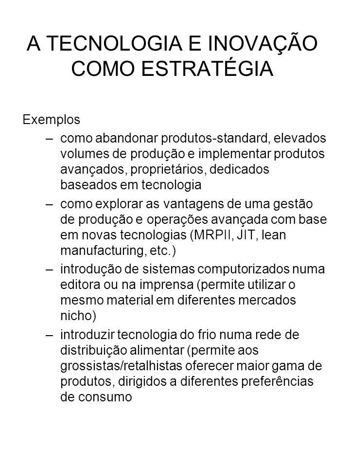 Exemplos –como abandonar produtos-standard, elevados volumes de produção e implementar produtos avançados, proprietários, dedicados baseados em tecnol