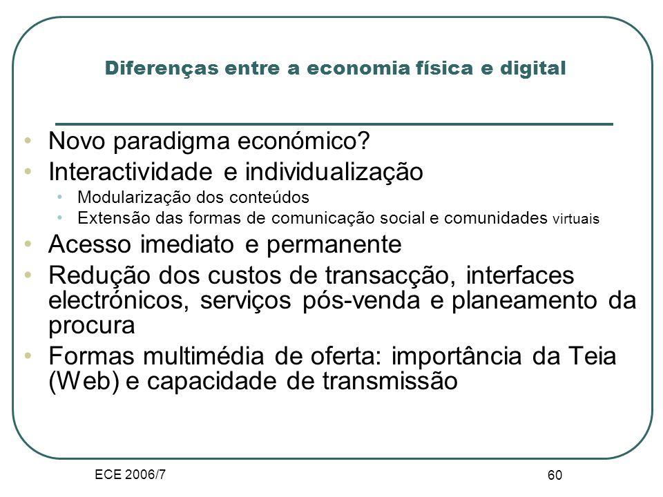 ECE 2006/7 59 Diferenças entre a economia física e digital Economia Digital envolve a recolha, a selecção, a síntese e a distribuição de informação.