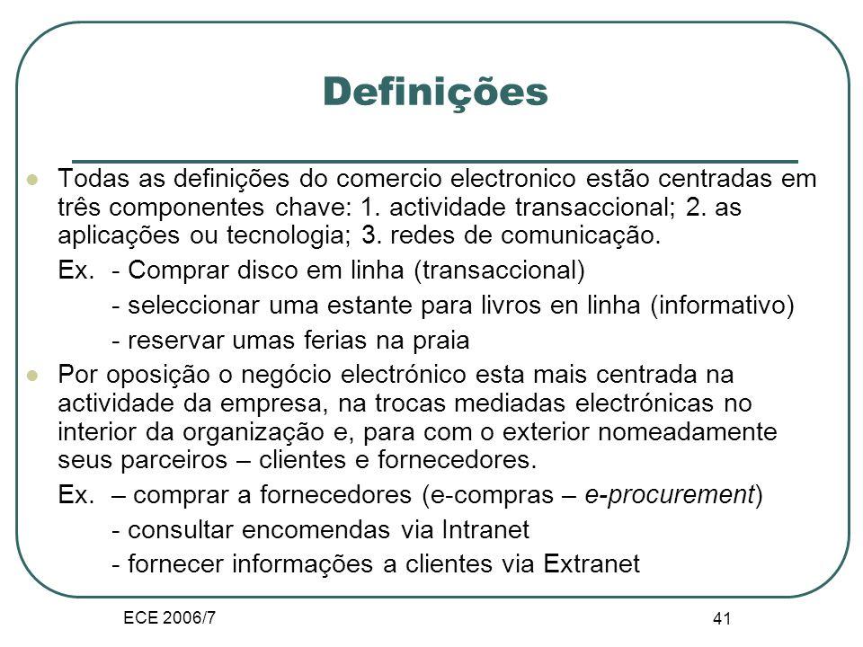 ECE 2006/7 41 Definições Todas as definições do comercio electronico estão centradas em três componentes chave: 1.