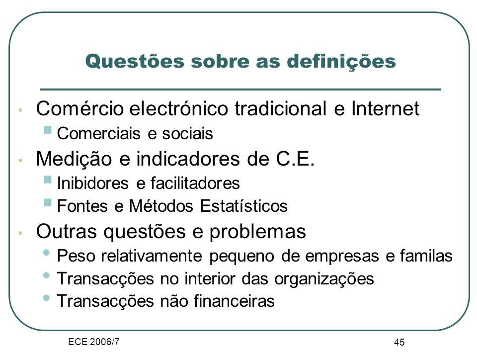 ECE 2006/7 45 Questões sobre as definições Comércio electrónico tradicional e Internet Comerciais e sociais Medição e indicadores de C.E.