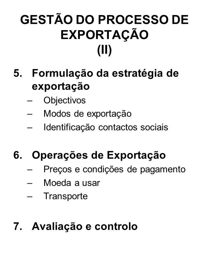 GESTÃO DO PROCESSO DE EXPORTAÇÃO (II) 5.Formulação da estratégia de exportação –Objectivos –Modos de exportação –Identificação contactos sociais 6.Ope