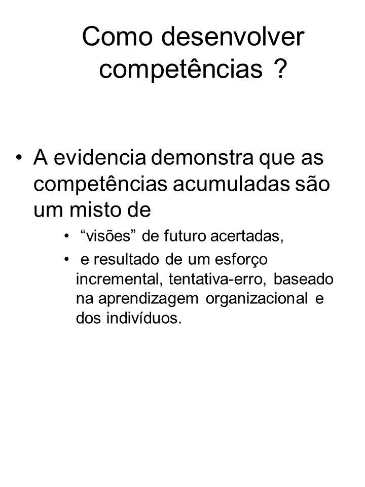 Como desenvolver competências ? A evidencia demonstra que as competências acumuladas são um misto de visões de futuro acertadas, e resultado de um esf
