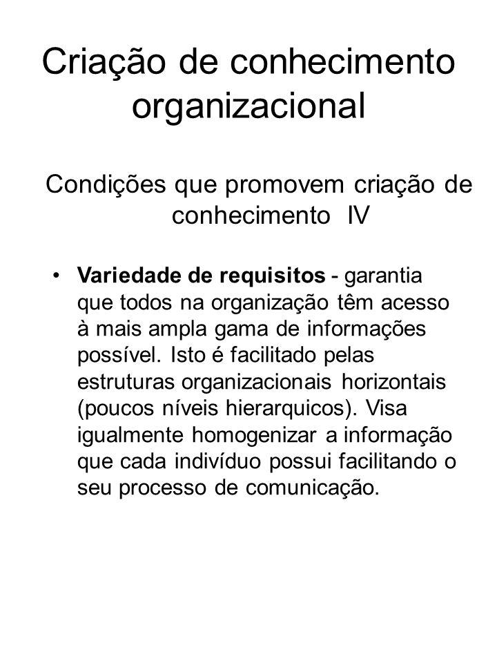 Criação de conhecimento organizacional Condições que promovem criação de conhecimento IV Variedade de requisitos - garantia que todos na organização t