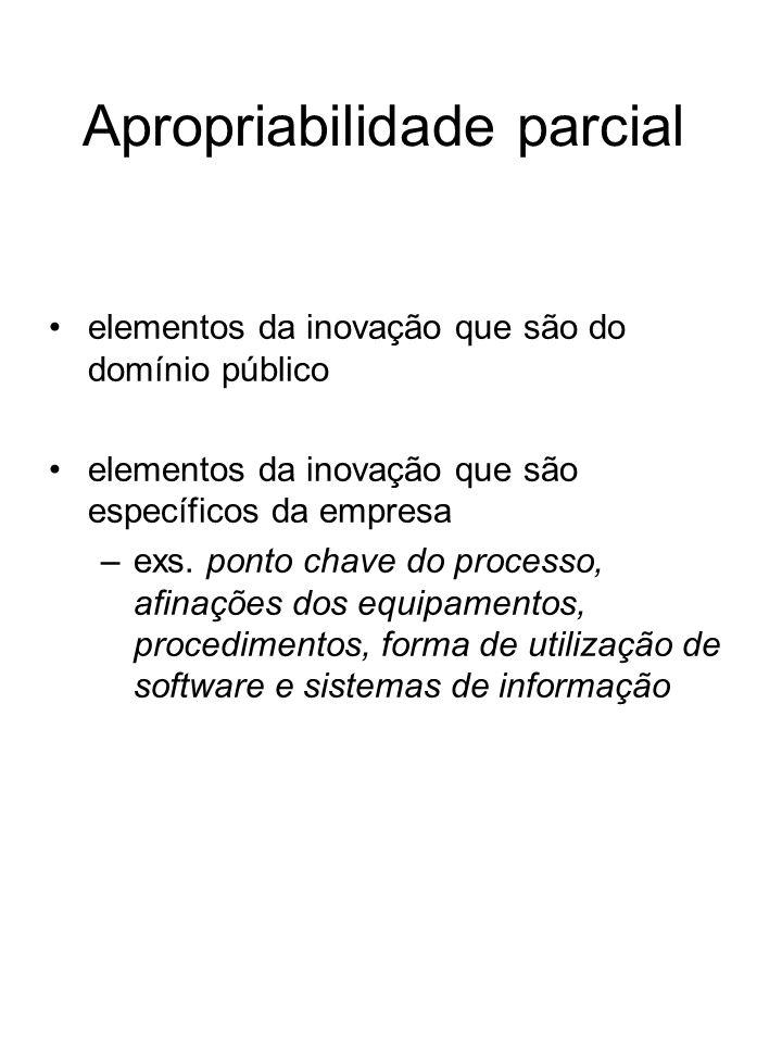 Apropriabilidade parcial elementos da inovação que são do domínio público elementos da inovação que são específicos da empresa –exs. ponto chave do pr