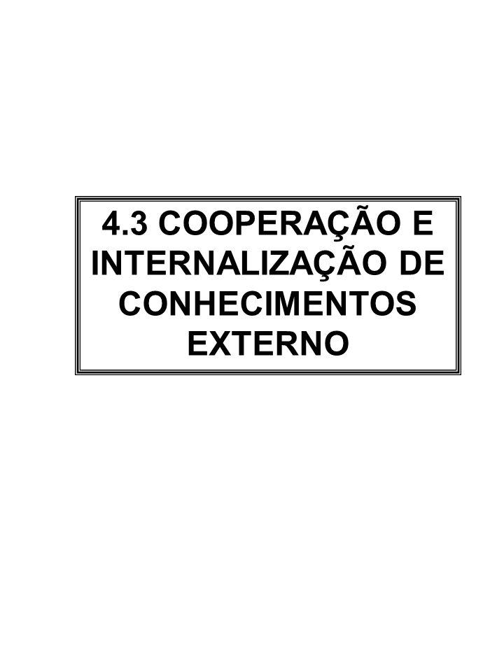 4.3 COOPERAÇÃO E INTERNALIZAÇÃO DE CONHECIMENTOS EXTERNO