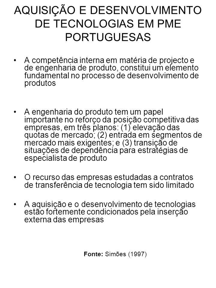 AQUISIÇÃO E DESENVOLVIMENTO DE TECNOLOGIAS EM PME PORTUGUESAS A competência interna em matéria de projecto e de engenharia de produto, constitui um el