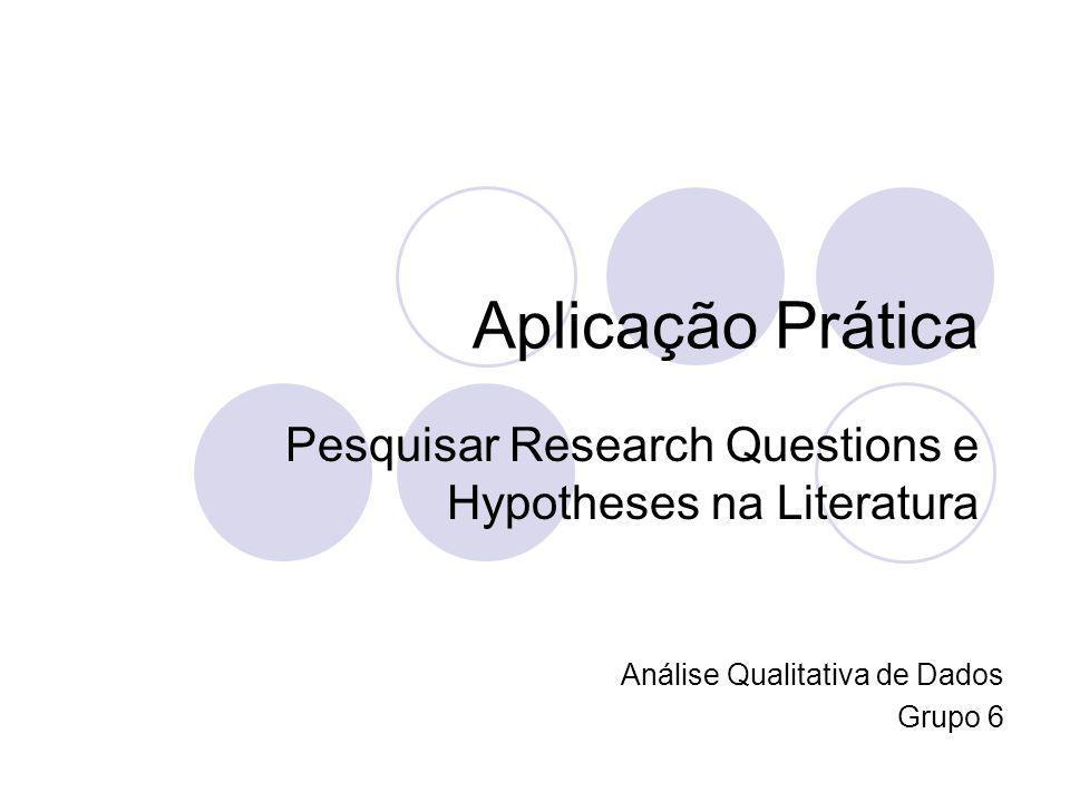 Aplicação Prática Pesquisar Research Questions e Hypotheses na Literatura Análise Qualitativa de Dados Grupo 6