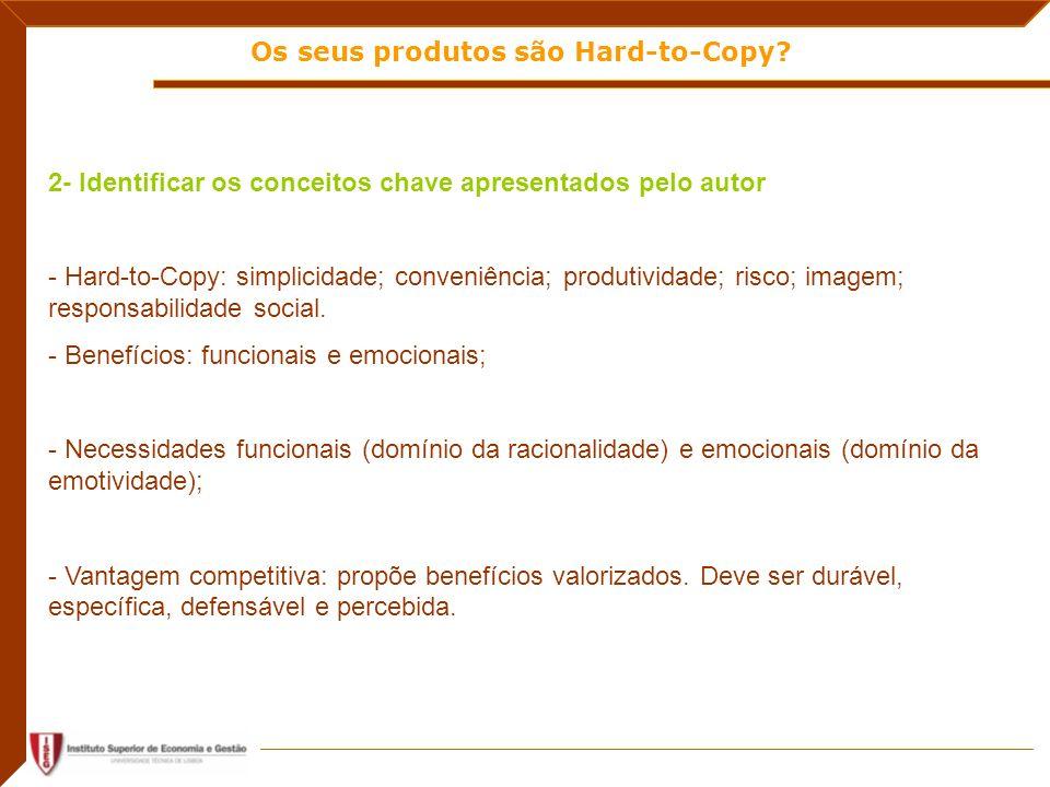 Os seus produtos são Hard-to-Copy? 2- Identificar os conceitos chave apresentados pelo autor - Hard-to-Copy: simplicidade; conveniência; produtividade