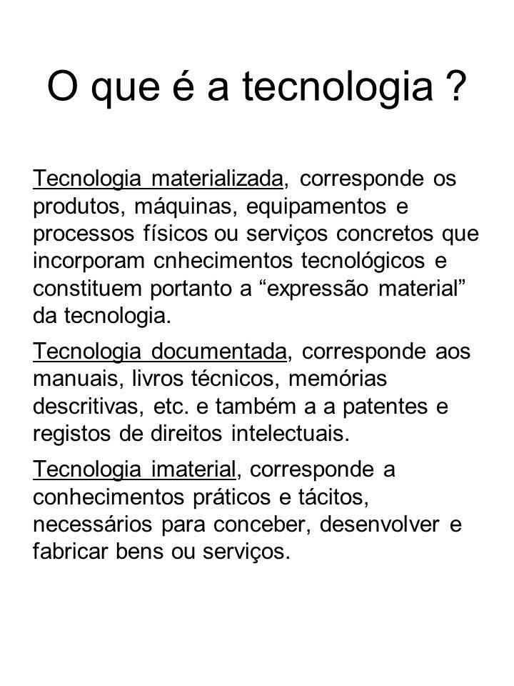 O que é a tecnologia ? Tecnologia materializada, corresponde os produtos, máquinas, equipamentos e processos físicos ou serviços concretos que incorpo
