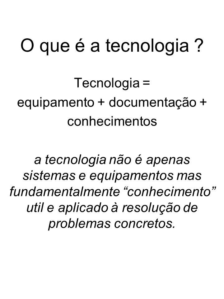 O que é a tecnologia ? Tecnologia = equipamento + documentação + conhecimentos a tecnologia não é apenas sistemas e equipamentos mas fundamentalmente