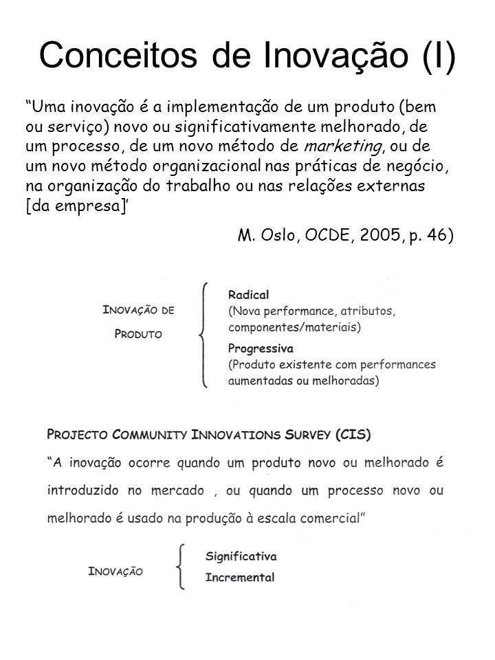 Uma inovação é a implementação de um produto (bem ou serviço) novo ou significativamente melhorado, de um processo, de um novo método de marketing, ou