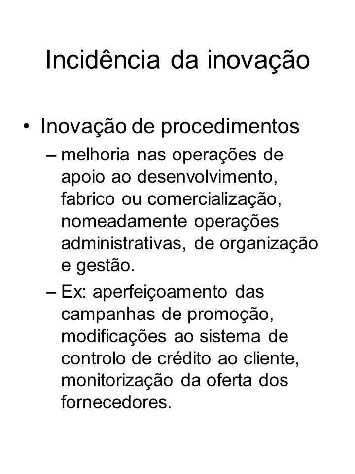 Incidência da inovação Inovação de procedimentos –melhoria nas operações de apoio ao desenvolvimento, fabrico ou comercialização, nomeadamente operaçõ