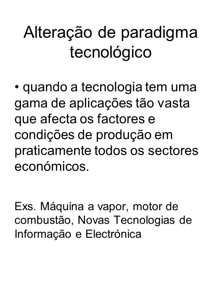 Alteração de paradigma tecnológico quando a tecnologia tem uma gama de aplicações tão vasta que afecta os factores e condições de produção em praticam