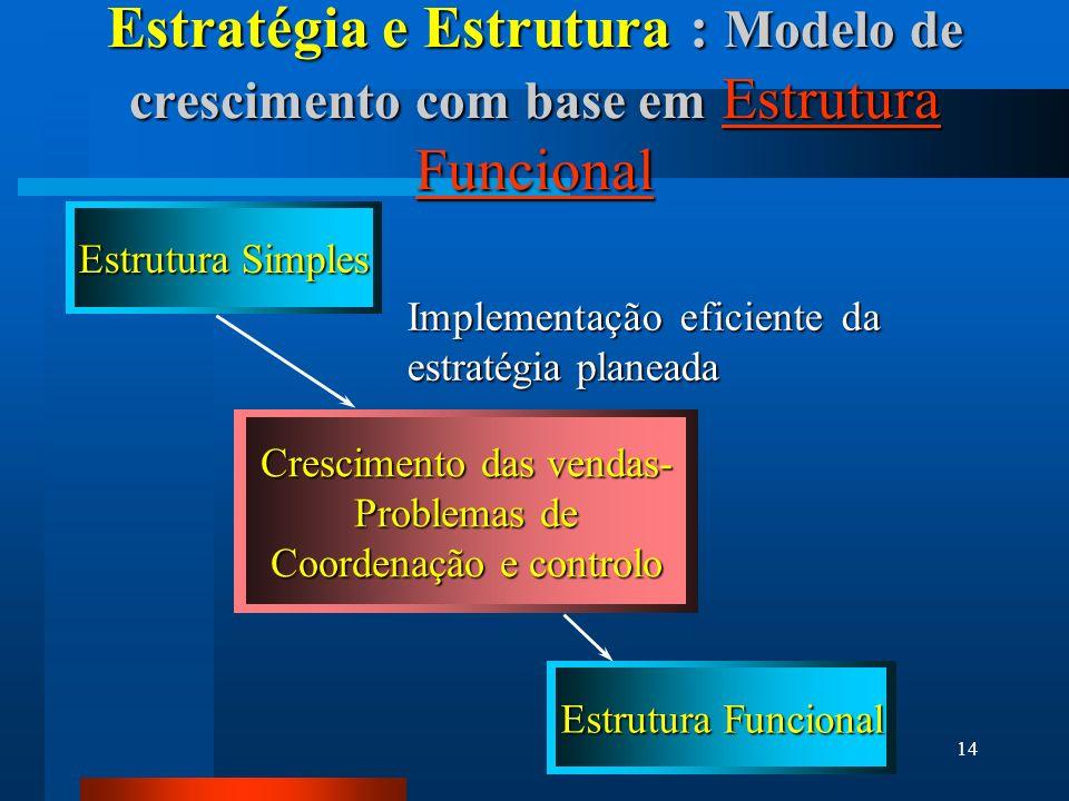 14 Estratégia e Estrutura : Modelo de crescimento com base em Estrutura Funcional Estrutura Simples Estrutura Funcional Crescimento das vendas- Problemas de Coordenação e controlo Implementação eficiente da estratégia planeada