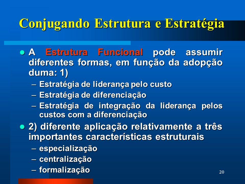 20 Conjugando Estrutura e Estratégia A Estrutura Funcional pode assumir diferentes formas, em função da adopção duma: 1) A Estrutura Funcional pode as