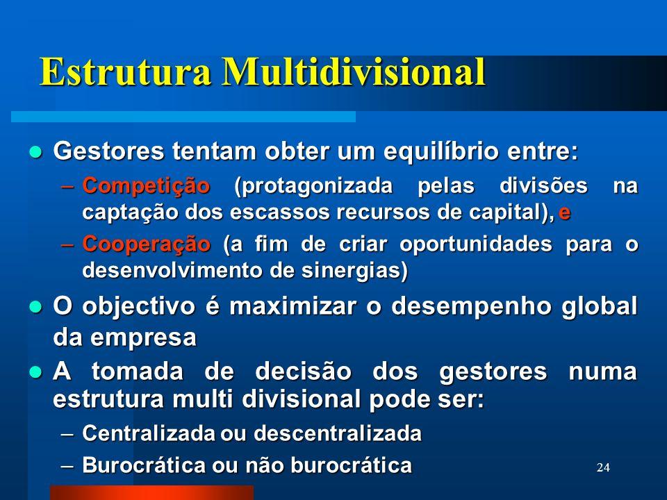 24 Estrutura Multidivisional Gestores tentam obter um equilíbrio entre: Gestores tentam obter um equilíbrio entre: –Competição (protagonizada pelas di